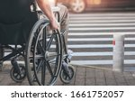 Disabled Man On Wheelchair...