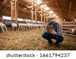 Farmer in casual clothes with...