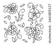 collection cartoon flowers.... | Shutterstock .eps vector #1661805127