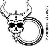outlined black and white horned ...   Shutterstock .eps vector #16618249