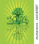 2014 new year numerals go green ... | Shutterstock .eps vector #166185887