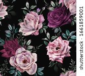seamless floral pattern with... | Shutterstock . vector #1661859001