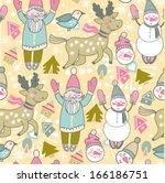 vector cute winter seamless... | Shutterstock .eps vector #166186751