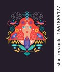 face of woman and decoration... | Shutterstock .eps vector #1661889127