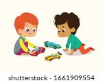 illustration of two cute boys... | Shutterstock .eps vector #1661909554