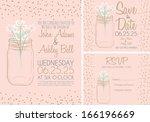 pink wedding invitation card... | Shutterstock .eps vector #166196669