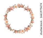 Seashells round frame. clip art ...