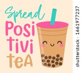 cute bubble tea cartoon... | Shutterstock .eps vector #1661977237