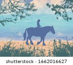 a girl riding a horse rides...   Shutterstock .eps vector #1662016627