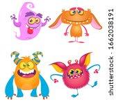 funny cartoon monsters set....   Shutterstock . vector #1662038191