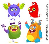 cute cartoon monsters. set of... | Shutterstock . vector #1662038197
