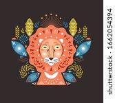 lion head stylized illustration.... | Shutterstock .eps vector #1662054394