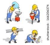 set of funny cartoon builders... | Shutterstock .eps vector #166206374