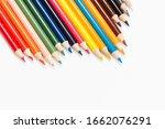 Multi Color Pencils On White...