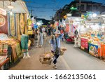 People And Street Food Shops At ...