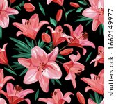 pink flowers   lily. seamless... | Shutterstock .eps vector #1662149977