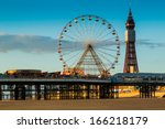 blackpool tower and central... | Shutterstock . vector #166218179