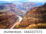 Red Rock Canyon River Top View. ...