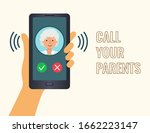 poster  call your parents. hand ... | Shutterstock .eps vector #1662223147