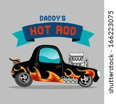 a hot rod car with flame paint. ... | Shutterstock .eps vector #166223075