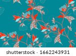 graceful red ornament of cotton ... | Shutterstock .eps vector #1662243931