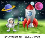 An illustration of an outer space cartoon background with a cute cartoon astronaut planting an earth flag on an alien world with his shiny vintage rocket - stock vector