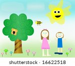 boy   girl happy outside in... | Shutterstock . vector #16622518