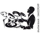 drummer  silhouette | Shutterstock .eps vector #166229249