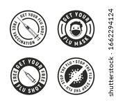 set of 4 flu stickers.... | Shutterstock .eps vector #1662294124
