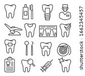 dental line icons set on white... | Shutterstock . vector #1662345457