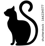 Stock vector black cat silhouette on a white background 166234577