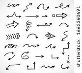 vector set of hand drawn arrows  | Shutterstock .eps vector #1662360691