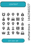 content icon set. 25 filled...