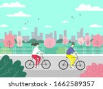 Man And Woman Riding Bicycle In ...