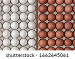 Top View Chicken Raw Eggs Of...