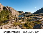 Lakes high in the mountains somewhere in Norway - stock photo