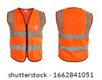 Small photo of Safety Vest Reflective shirt beware, guard, mind, traffic shirt, safety shirt, rescue, police, security shirt protective jacket isolated on white background. This has clipping path.
