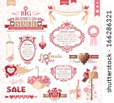 set of valentines day design... | Shutterstock .eps vector #166286321
