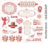 set of valentines day design... | Shutterstock .eps vector #166286369