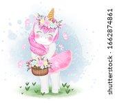 cute unicorn with flower basket ...   Shutterstock .eps vector #1662874861