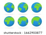 earth icon. vector globe with a ... | Shutterstock .eps vector #1662903877