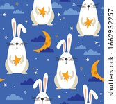 bunnies  stars  moon and clouds ... | Shutterstock .eps vector #1662932257