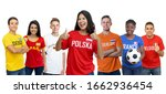 Laughing soccer fan from Poland with supporters from other european countries on isolated white background forr cut out