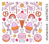 crazy candy land sweet vector... | Shutterstock .eps vector #1662936721