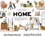 stylish scandinavian entrance... | Shutterstock .eps vector #1662961204