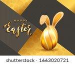 golden easter egg with rabbit... | Shutterstock . vector #1663020721
