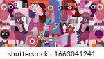 modern abstract graphic artwork ... | Shutterstock .eps vector #1663041241