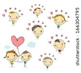 vector set with kids and hearts.... | Shutterstock .eps vector #166304795