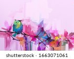 abstract colorful oil  acrylic... | Shutterstock . vector #1663071061