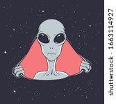an alien breaks through a hole...   Shutterstock .eps vector #1663114927